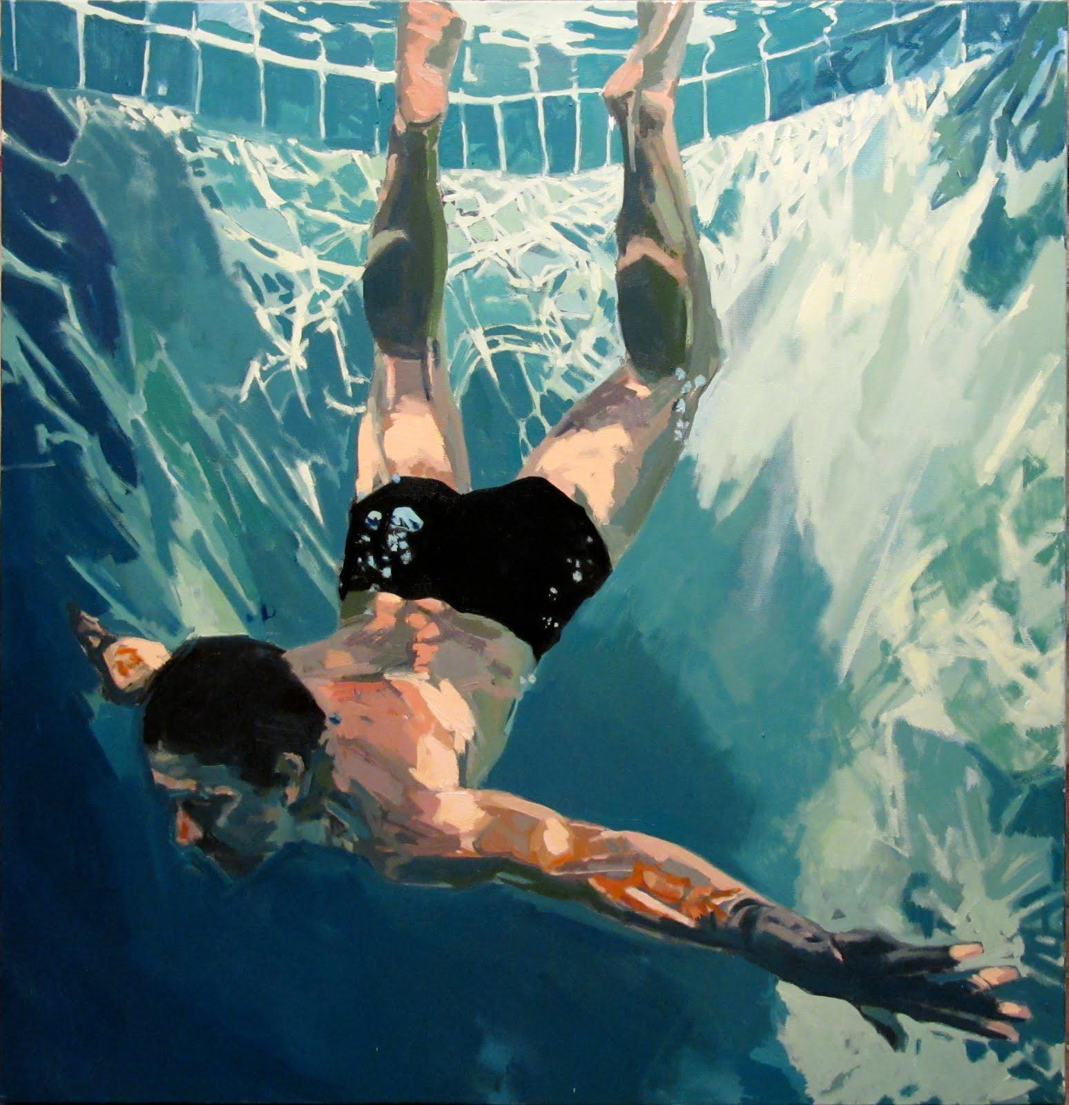 underwater painting people swimming - HD1548×1600